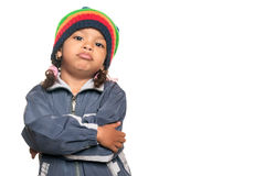 Little multiracial girl with a hip hop artist look. Little multiracial girl with a funny hip hop artist attitude isolated on white royalty free stock photo
