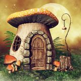 Little mushroom house with a lantern. Fairytale scene with a little mushroom house, fairy lantern, green fern and the moon royalty free illustration