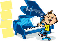 Little musician. The illustration presented to the boy who plays the grand piano Stock Images