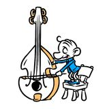 Little musician contrabass cartoon illustration Royalty Free Stock Images