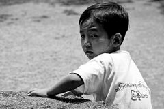 Little Myanmar student at school Royalty Free Stock Photography