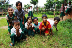 Little Myanmar students at school Stock Image