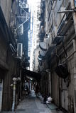 Little narrow lane between two buildings in Hong Kong royalty free stock images