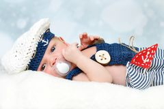 Little navy baby born royalty free stock images