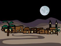Little Near East Desert Town. A small near east desert town with full moon at night Royalty Free Stock Photo