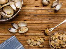 Little Neck Clams On Cutting Board Stock Image