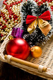 Little New year tree toys in the box Royalty Free Stock Image