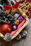 Little New year tree toys in the box closeup Royalty Free Stock Image