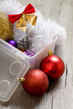 Little New year tree toys in the box Royalty Free Stock Photography