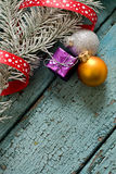 Little New year tree toys on the wood backing Royalty Free Stock Photos