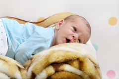 Little newborn baby boy Stock Photos