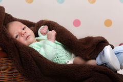 Little newborn baby boy Stock Images