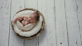 Little newborn baby boy stock video footage