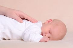 Little newborn baby boy sleeps Royalty Free Stock Photos