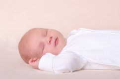 Little newborn baby boy sleeps Stock Photo
