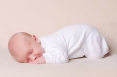 Little newborn baby boy sleeps Royalty Free Stock Photo