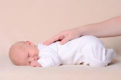 Little newborn baby boy sleeps Stock Image