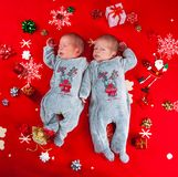 Little newborn baby boys, twin brothers. Stock Images