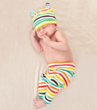 Little newborn baby dreaming Stock Image