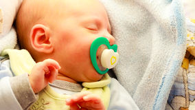 Little newborn baby girl 24 days sleeps Royalty Free Stock Image