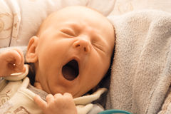 Little newborn baby girl lying Stock Images