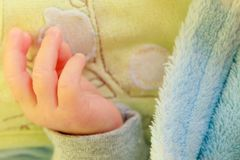Little newborn baby hand closeup Royalty Free Stock Image