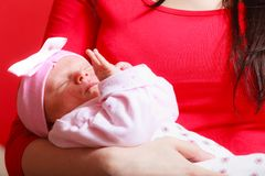 Little newborn baby lying on mother hands Royalty Free Stock Photography
