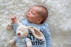 Little newborn baby sleeping, baby with scin rash. Little newborn baby sleeping with toy, baby with scin rash, child dermatitis symptom problem rash, newborn Royalty Free Stock Image