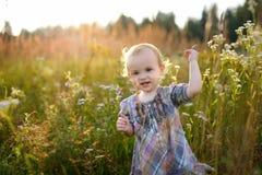 Little nice baby walking in a meadow. Little nice smiling baby walking in a meadow Stock Photography