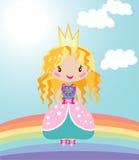 Little Nice Princess On Rainbow Stock Images