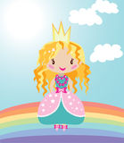 Little nice princess on rainbow. Vector graphic image with little fairy princess girl walking under clouds on the rainbow Stock Images