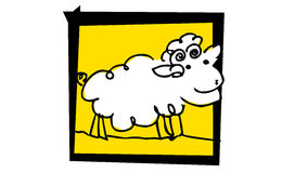 Little nice sheep. Smileing sheepy on yellow in black frames Stock Photo