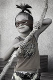 Little Ninja boy. Portrait of a little boy playing Ninja Stock Photo