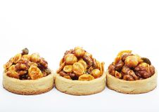 Little nuts tarts. Stock Photos