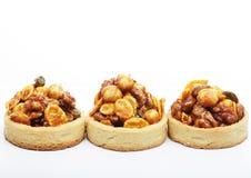 Little nuts tarts. stock photos