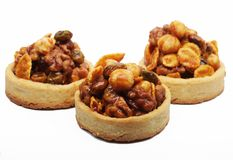 Little nuts tarts. Royalty Free Stock Images