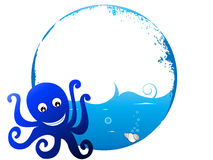 Little octopus with wave. Little octopus on circular background royalty free illustration