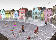 Little old Belgian town square filled with colorful people. 3D illustration over a white background, colorful homes, grey asphalt, roofs, white sky Royalty Free Stock Images
