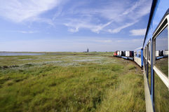 A little old island train. Connects harbour and village on Wangerooge, Germany royalty free stock photo