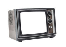Little old Portable Television Set with Cut Out Screen Royalty Free Stock Photos