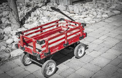 Little old red wagon. Stock Photo