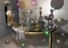 Little old woman making bubbles,. Old table and room, many unusual bottles, witch, 3D illustration Stock Photo