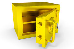 Little open safe from gold. Stock Photos