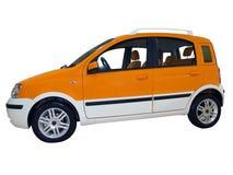 Little orange city car. Isolated stock photos