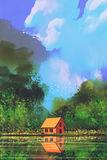 Little orange house in forest under the blue sky vector illustration
