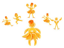 Little orange imagines himself a dancer and an athlete Royalty Free Stock Images