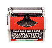 Little orange typewriter. Isolated objects: little orange typewriter, view from above, on white background Stock Image