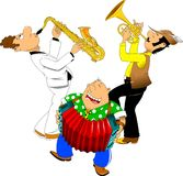Little orchestra. Saxophonist, trumpeter and accordionist perform a cheerful song at the festival Stock Photo