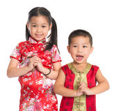 Little oriental children wishing you a happy Chinese New Year. Little oriental girl and boy wishing you a happy Chinese New Year, with traditional Cheongsam Royalty Free Stock Photos