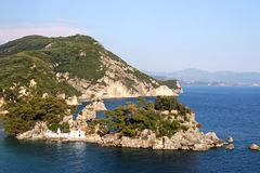 Little orthodox church on island Panagias Parga Greece Royalty Free Stock Photo